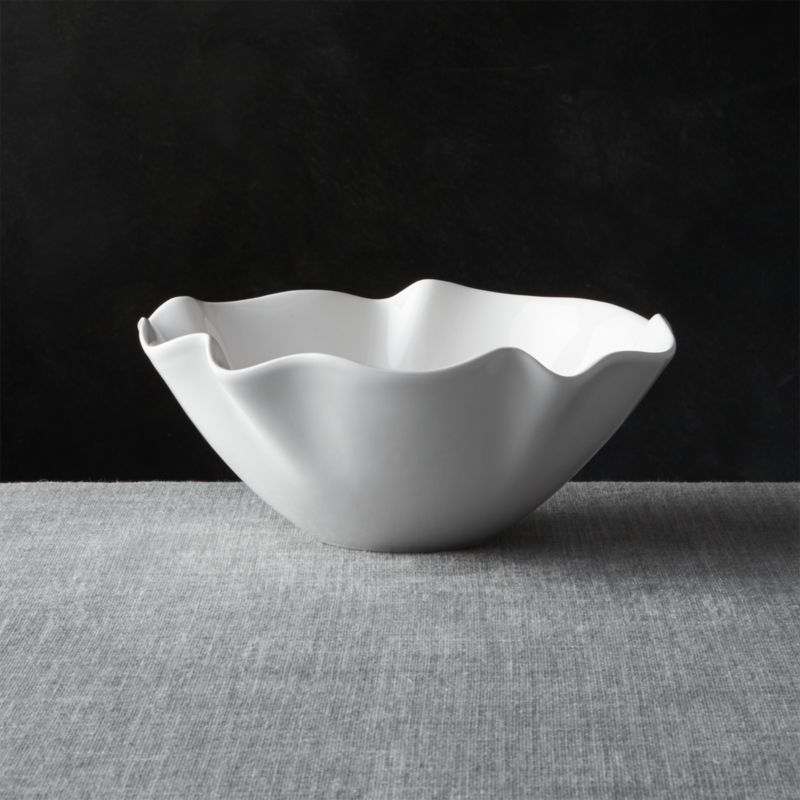 White Ruffle 11 Small Bowl  Crate and Barrel