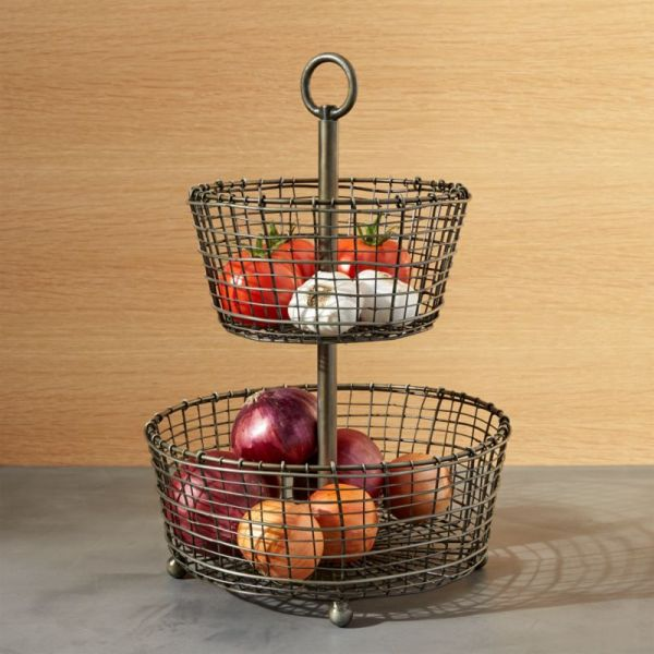 Bendt 2-tier Iron Fruit Basket Crate And Barrel