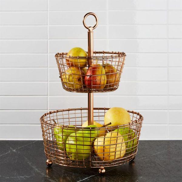 Bendt 2-tier Copper Fruit Basket Crate And Barrel