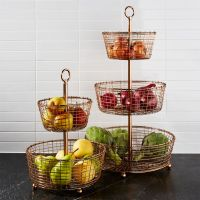 Bendt Tiered Copper Fruit Baskets | Crate and Barrel
