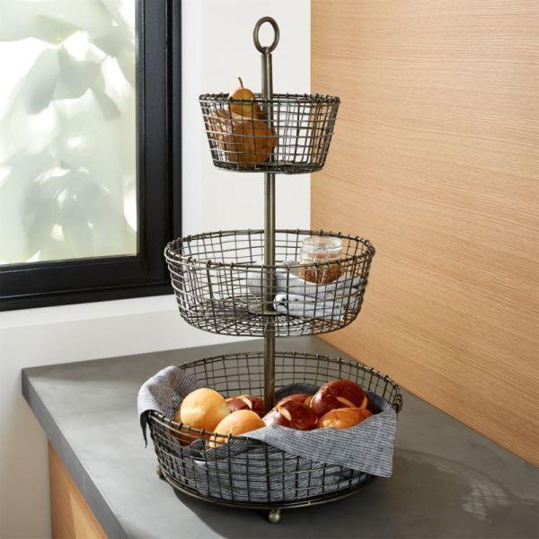 Bendt 3-tier Iron Fruit Basket Crate And Barrel