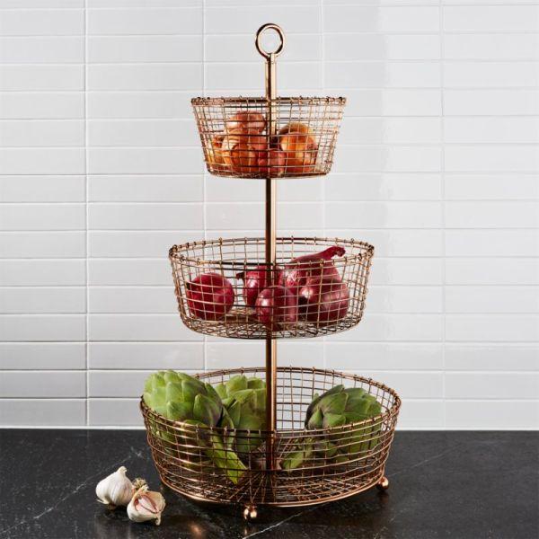 Bendt 3-tier Copper Fruit Basket Crate And Barrel