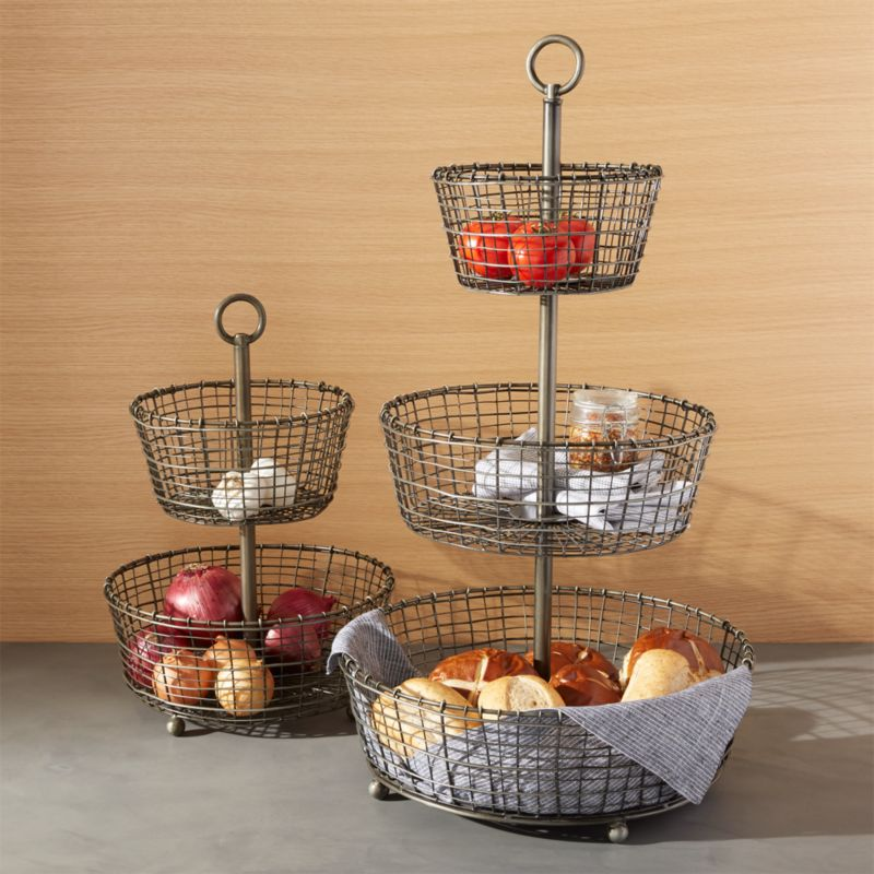 Bendt Tiered Iron Fruit Baskets Crate And Barrel