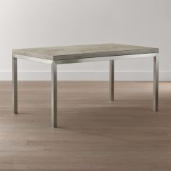 Steel Kitchen Table High End Kitchens Parsons Concrete Top Stainless Base Dining Tables Crate And Barrel