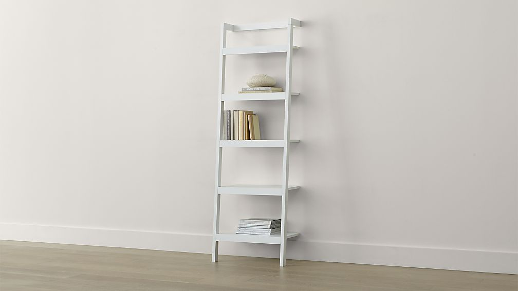 """Sawyer White Leaning 245"""" Bookcase  Crate And Barrel"""