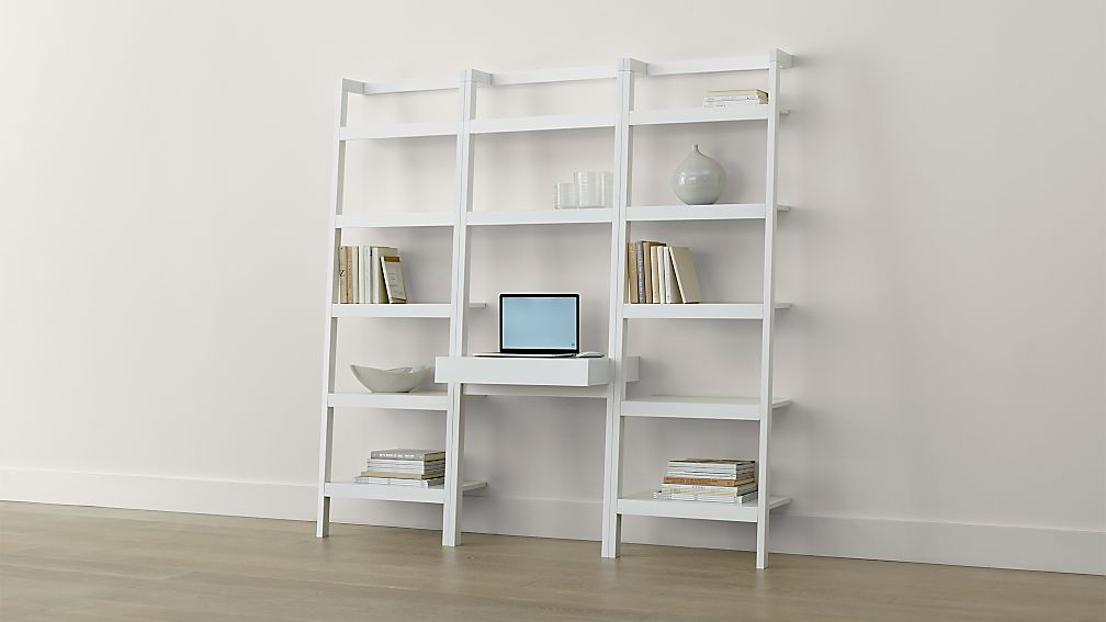 Sawyer White Leaning Desk With Two 245 Bookcases Crate