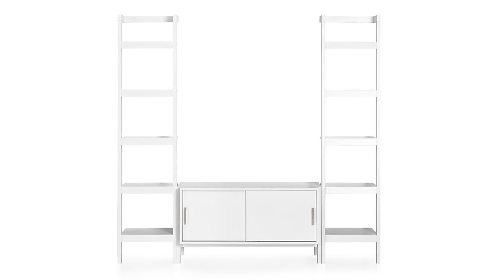 Sawyer White Media Stand with Media Shelf and Two 18