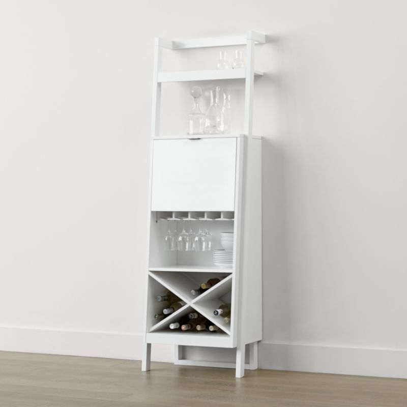 kitchen counter desk blum bins sawyer white leaning wine bar + reviews | crate and barrel