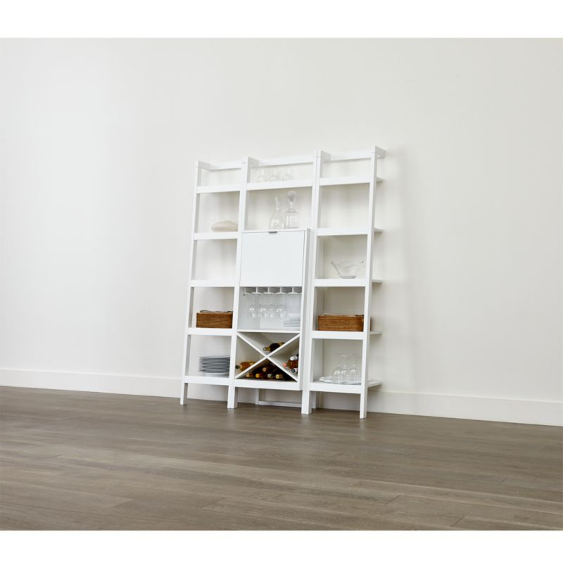 Sawyer White Leaning Wine Bar with Two 18 Bookcases