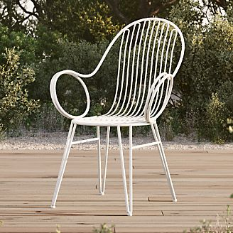 white metal chairs chair design sofa outdoor furniture crate and barrel scroll dining