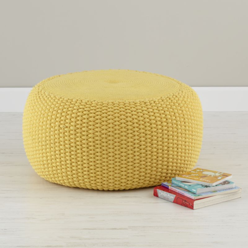 Yellow Braided Pouf in Bean Bag  Poufs  Reviews  Crate and Barrel