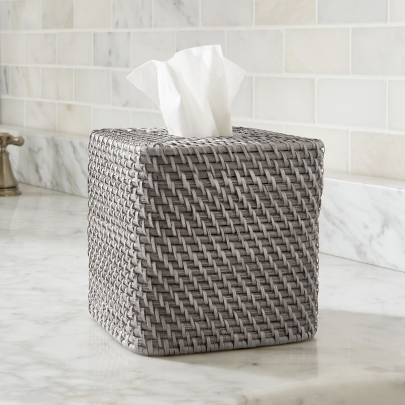 next home living room accessories colours 2018 sedona grey square tissue box cover + reviews | crate and ...