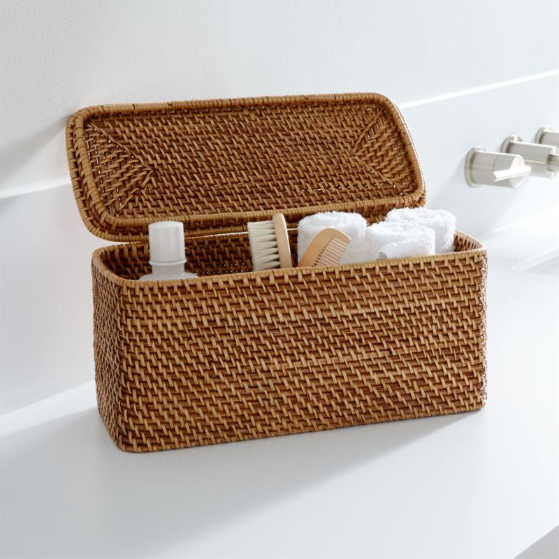 Sedona Honey Lidded Rectangular Tote  Crate and Barrel
