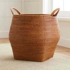 Chair Covers For Dining Chairs Target Bean Bag Sedona Honey Round Rattan Storage Basket | Crate And Barrel