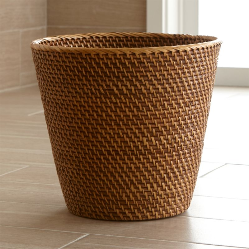 Sedona Honey Tapered Waste BasketTrash Can  Crate and Barrel