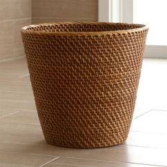Commercial Kitchen Trash Can Sconces Sedona Honey Rattan Waste Basket + Reviews | Crate And Barrel