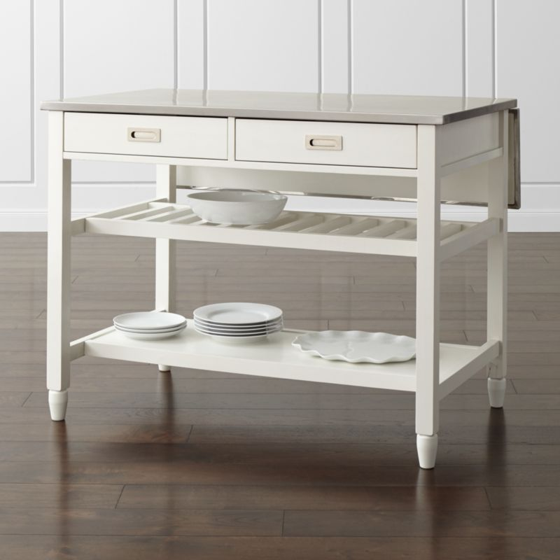 Sheridan White Kitchen Island  Reviews  Crate and Barrel