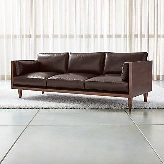 wood frame leather sofas 100 sofa and loveseat chairs crate barrel sherwood 3 seat exposed
