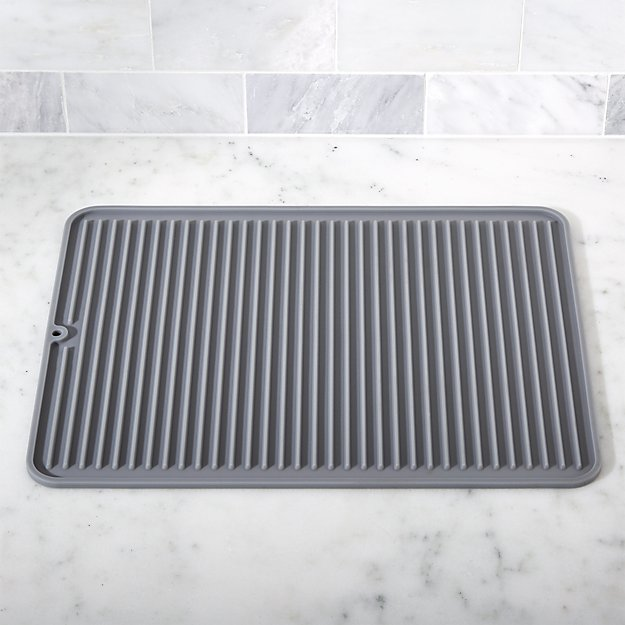 Silicone Grey Drying Mat  Crate and Barrel
