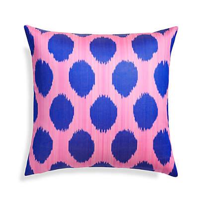 silk ikat pillow cover blue pink 20