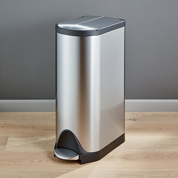 simplehuman kitchen trash can premade islands ® 30-liter/8-gallon stainless steel butterfly ...