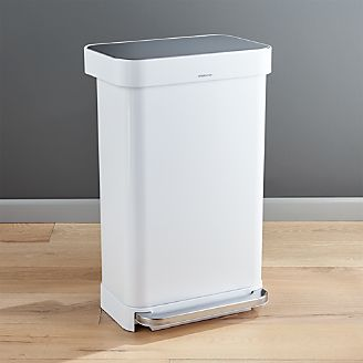 simplehuman kitchen trash can european gadgets cans for crate and barrel 45 liter 12 gallon white rectangular step