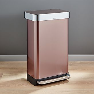 simplehuman kitchen trash can light cover cans for crate and barrel 45 liter 12 gallon rose gold rectangular step