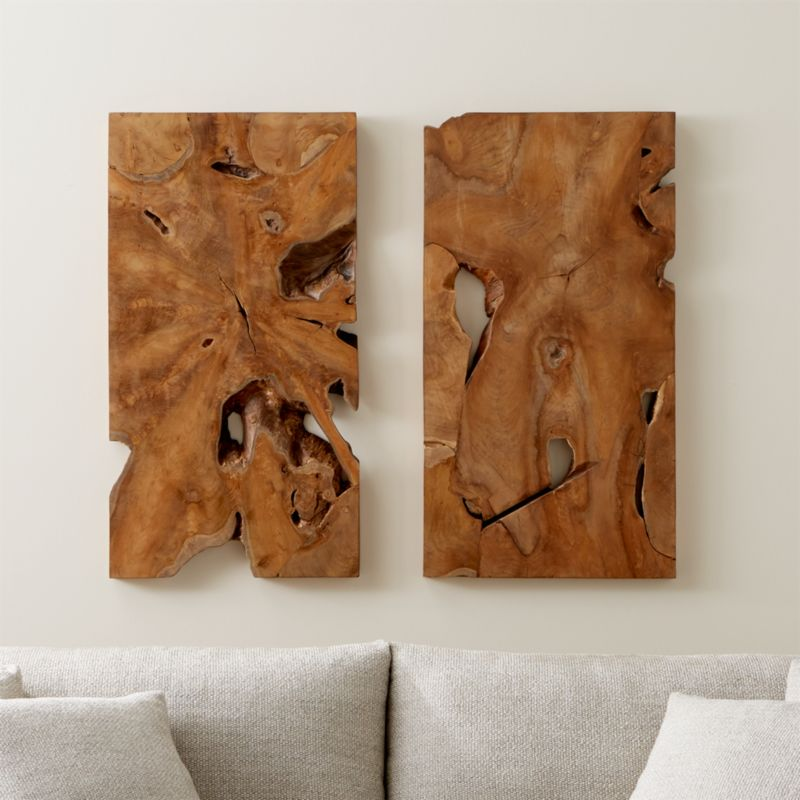 Slice Teak Wall Art Set Of Two Reviews Crate And Barrel