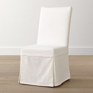 White Slipcovered Chairs  Crate and Barrel
