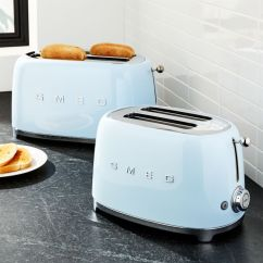 Stainless Steel Carts Kitchen Small Design Ideas Smeg Pastel Blue Toasters | Crate And Barrel