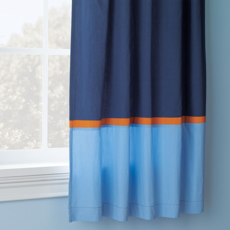 Kids Curtains Kids Navy and Light Blue Curtains with Orange Trim  Crate and Barrel
