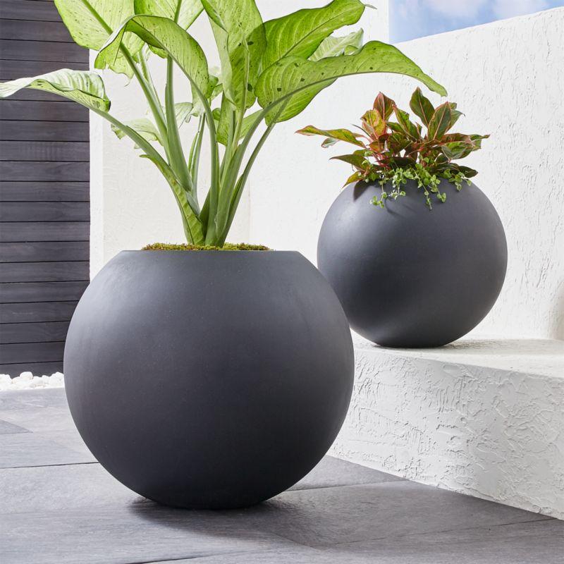 sphere dark gray planters crate