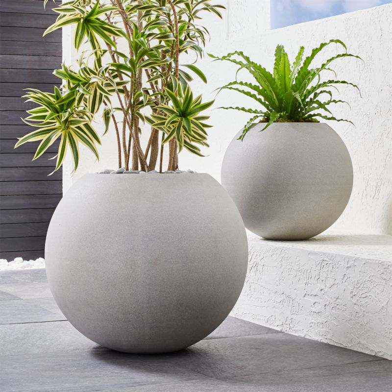 Extra Large Concrete Planters Sphere Light Gray Planters | Crate And Barrel