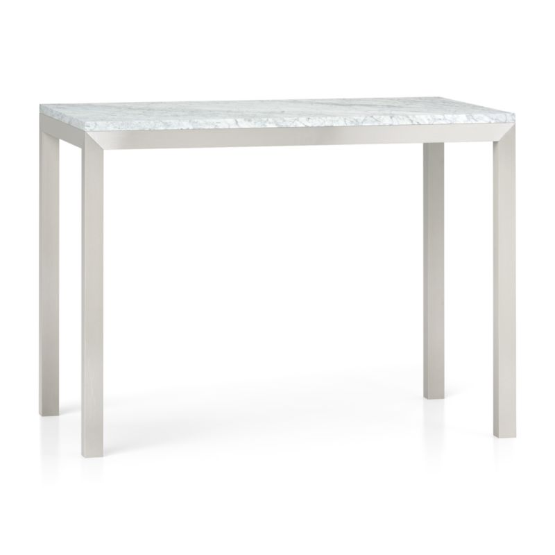 tall square kitchen table materials parsons white marble top/ stainless steel base 48x28 high ...