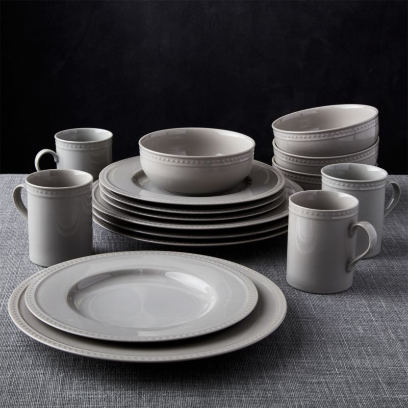 Staccato Grey 16Piece Dinnerware Set  Crate and Barrel