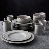 Staccato Grey 16-Piece Dinnerware Set | Crate and Barrel