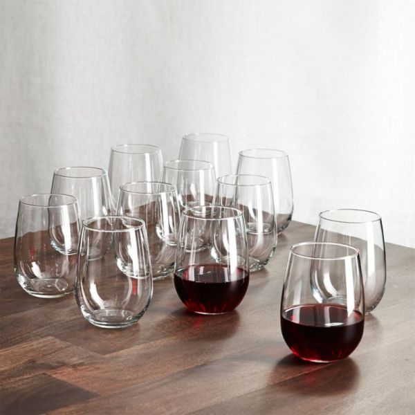 Set Of 12 Stemless Wine Glasses 17 Oz. Crate And Barrel