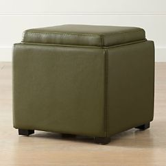Chair And A Half With Storage Ottoman Banquet Cap Covers Ottomans Cubes Crate Barrel Stow Olive Green 17 Leather