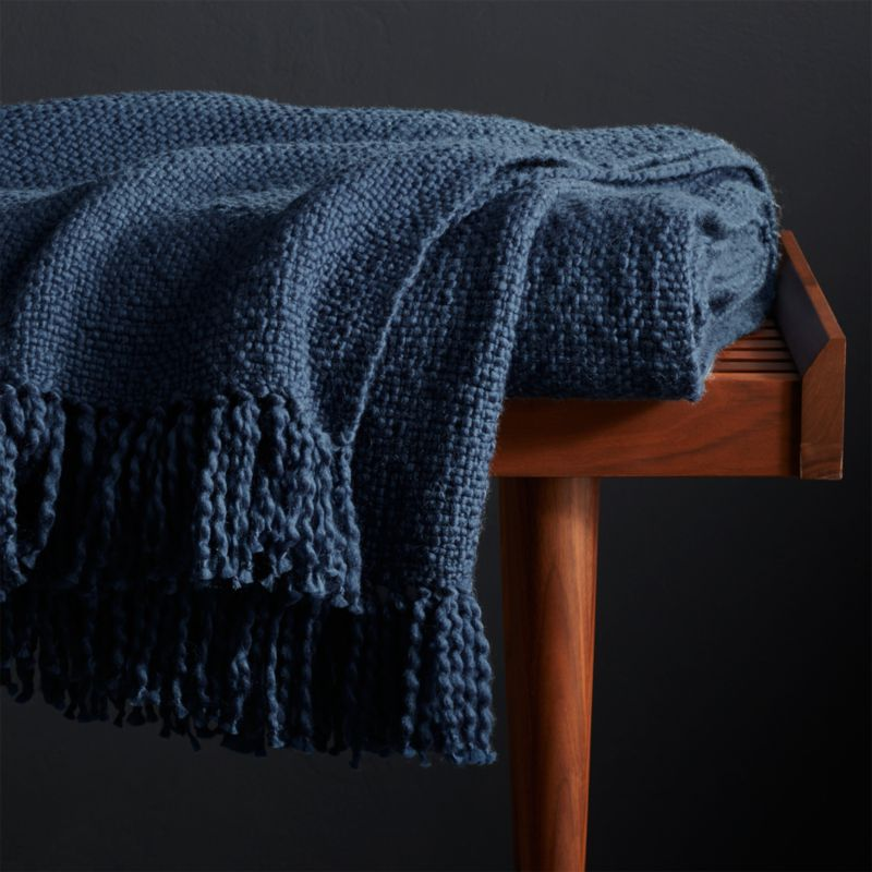 Styles Blue Fringe Throw Blanket Reviews Crate And Barrel
