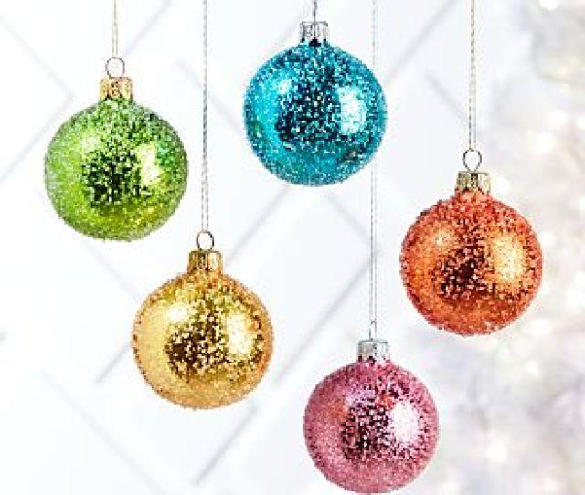 Sugared Shiny Glass Small Ball Ornaments
