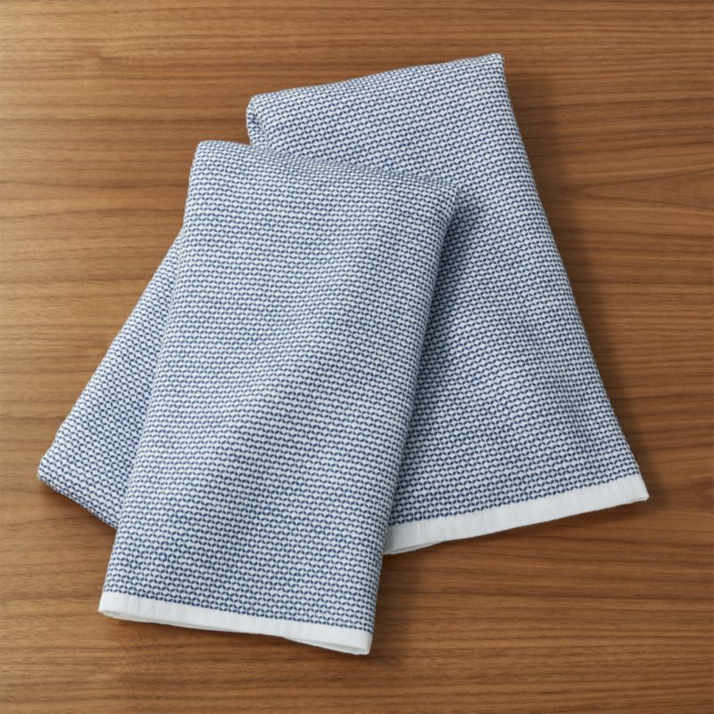 kitchen towels closeout cabinets indigo textured terry dish set of 2 reviews crate and barrel