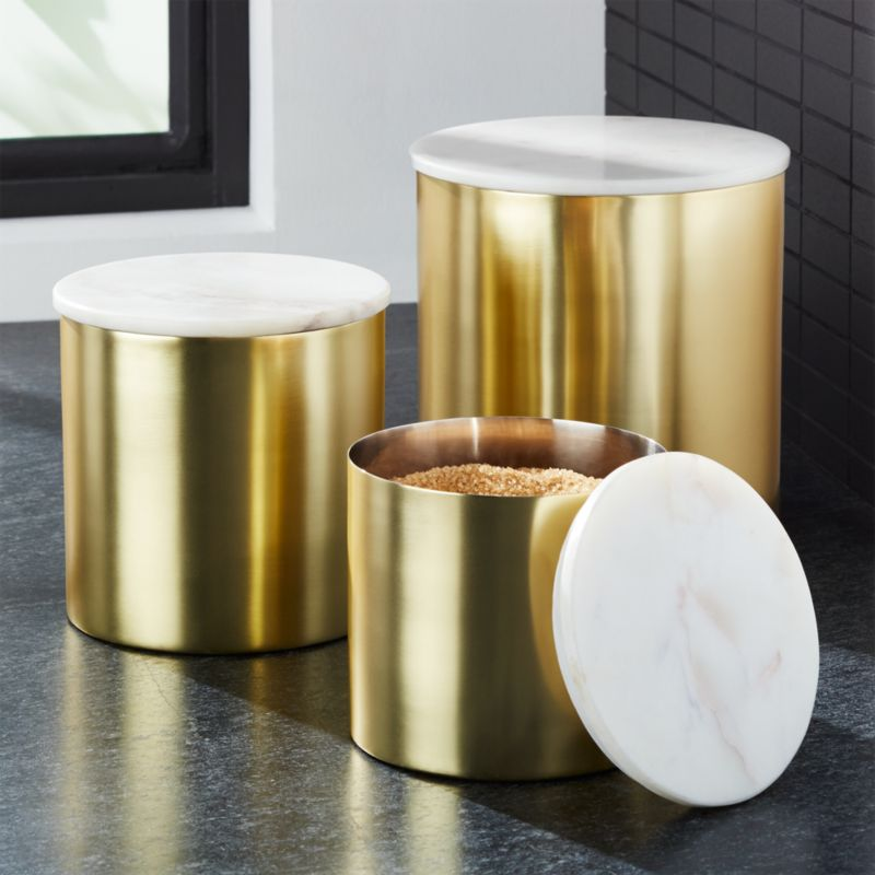 Thompson GoldMarble Canisters  Crate and Barrel