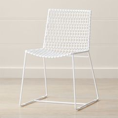 Silver Metal Dining Chairs Rocking Johannesburg Tig Indoor Outdoor White Chair Reviews Crate And Barrel