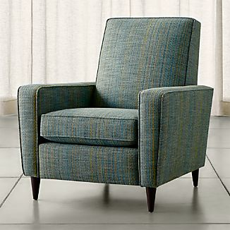 reclining club chair hanging papasan with stand recliners crate and barrel