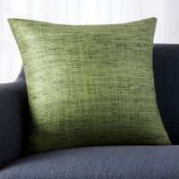 Green Textured Pillow with Feather