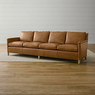 long sofas leather violet sofa set extra crate and barrel trevor 4 seat 106 grande