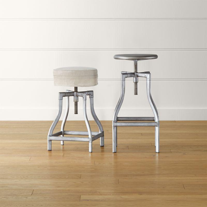 stool chair adjustable vintage metal chairs for sale turner gunmetal backless bar stools and linen cushion turnerbarstoolsgunmetalshs15 16x9
