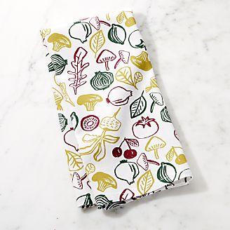 kitchen dish towels rugs for hardwood floors linens and aprons crate barrel veggie print towel