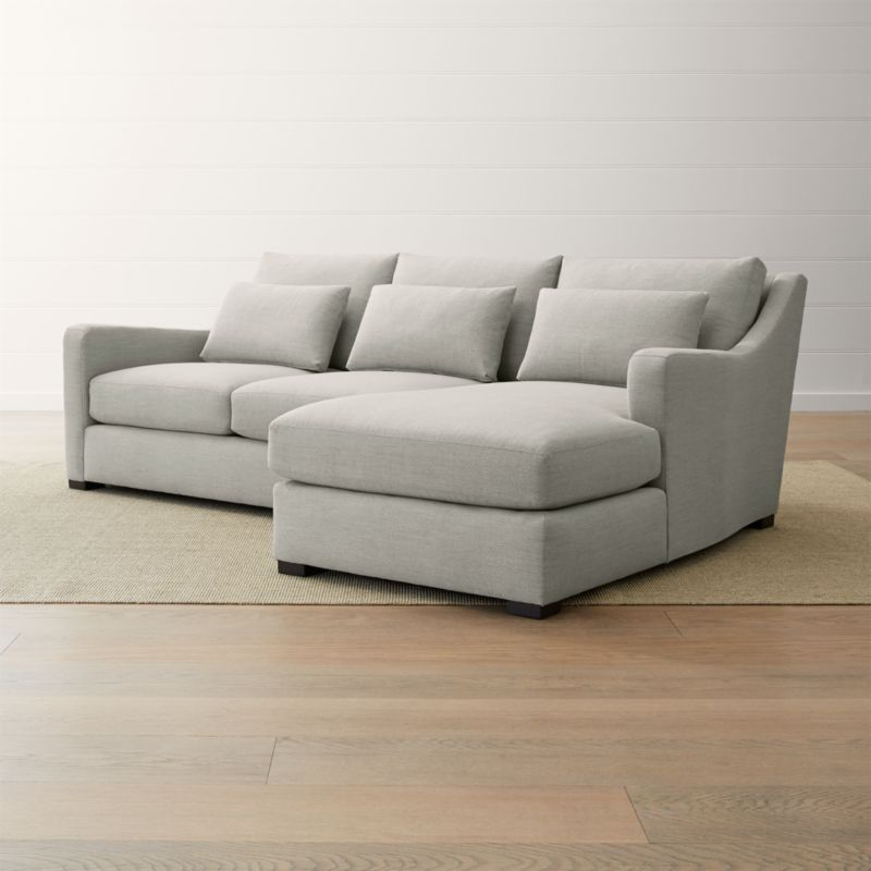 crate and barrel verano sofa shallow depth sectional ii 2-piece right arm chaise slope ...