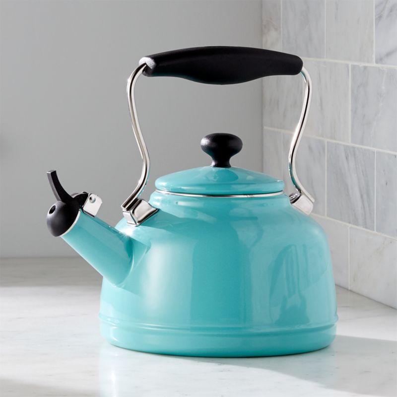 Chantal Vintage Aqua Steel Enamel Tea Kettle  Reviews  Crate and Barrel